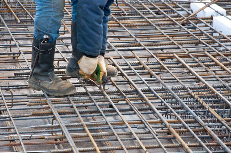 Industrial background. Construction rebar steel work reinforceme